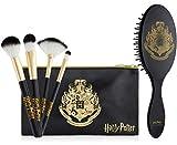 Harry Potter Set Brochas de Maquillaje y Cepillo Pelo, Set con Pinceles Maquillaje Para Mujeres y Chicas, Neceser Para Viajes, Merchandising Oficial Regalos Para Mujer y Adolescente