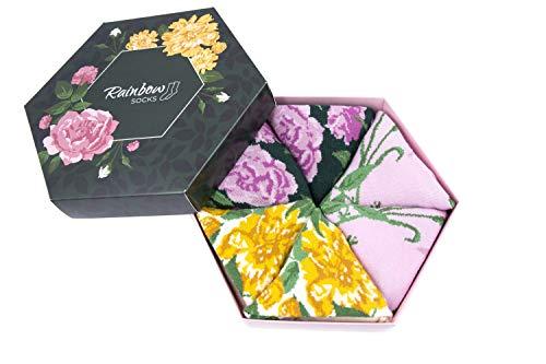 Rainbow Socks - Vrouw Bloem Sokken Doos Cadeau - 3 Paar