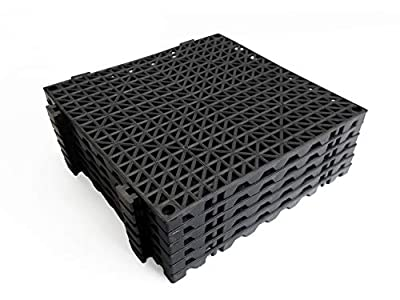 "VinTile Modular Interlocking Cushion Floor Tile Mat Non-Slip with Drainage Holes for Pool Shower Locker-Room Sauna Bathroom Deck Patio Garage Wet Area Matting (Pack of 6 - 11-3/4"" x 11-3/4"", Black)"