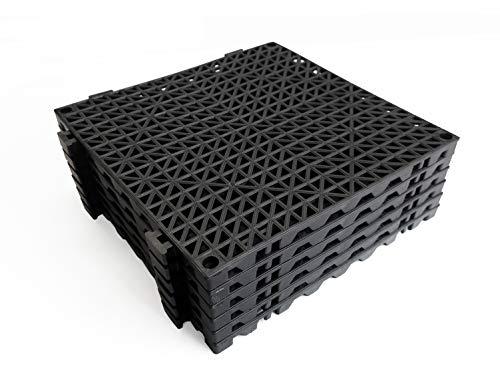VinTile Modular Interlocking Cushion Floor Tiles Mat Non-Slip with Drainage Holes for Pool Shower Locker-Room Sauna Bath Deck Patio Garage Wet Area Mat (Pack of 6 Tiles - 11-3/4' x 11-3/4', Black)