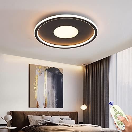 Lámpara de techo LED de 72W,regulable,plana,50 cm, color negro, lámpara de techo ultrafina,con mando a distancia,3000K-6500K, para dormitorio,habitación de los niños,salón,cocina,creativa, redonda