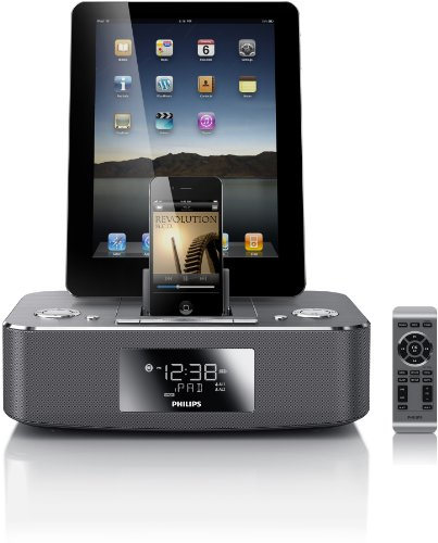 Philips DC390 37 Dual-Docking 30-Pin iPod iPhone iPad Alarm Clock Speaker Dock
