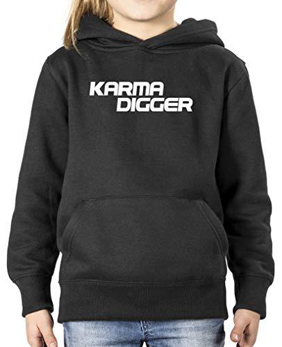 Comedy Shirts - Karma Digger - Mädchen Hoodie - Schwarz/Weiss Gr. 122/128