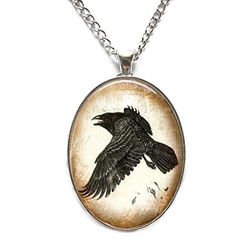 Collar con colgante de cuervo para mujer, diseño de cuervo y cuervo