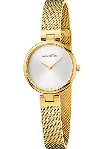 Calvin Klein Damen Analog Quarz Uhr mit Paqué or Armband K8G23526