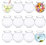 Plastic Fish Bowl 16 oz (12 Count) 4 Inch Fishbowl - Plastic Ivy Bowls - Unbreakable Vases...