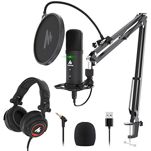 USB Microphone with Studio Headphone Set 192KHz/24Bit Zero Latency...