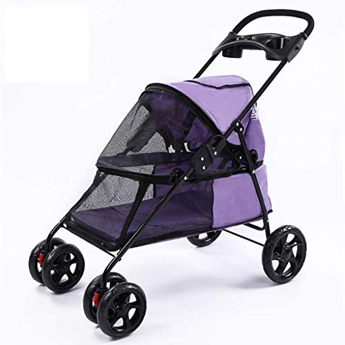 DSHUJC Hondenbuggy Cat Stroller Kinderwagen, Pet Trolley Cart, 4 wielen Opvouwbare Cat Pram Stroller Rotation Front Wheel Pet Travel Kinderwagen