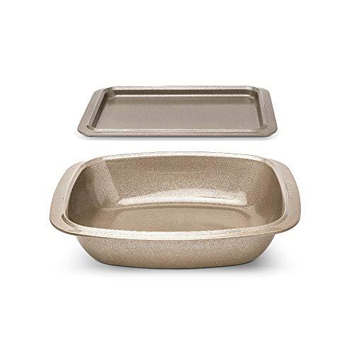 Anolon Advanced 2-teiliges Ofenblech Set, hochwertiges Antihaft Backblech Set, spülmaschinenfestes Backset, Karbonstahl Backset mit lebenslanger Garantie