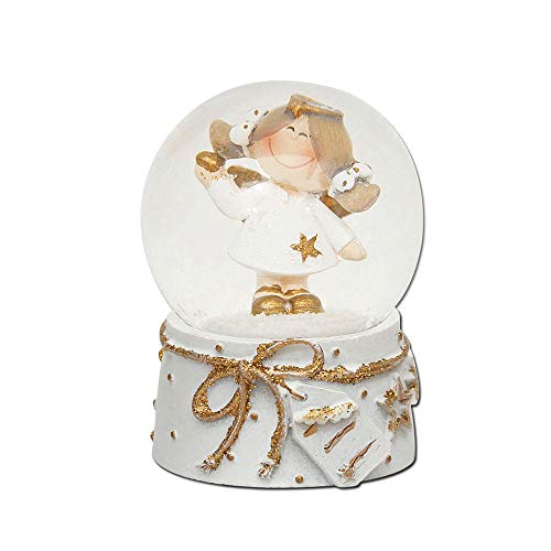 Mini-Schneekugel mit Engel, weiß/Goldener Sockel, Maße L/B/H: 4,5 x 4,5 x 6,5 cm Kugel Ø 4,5 cm.