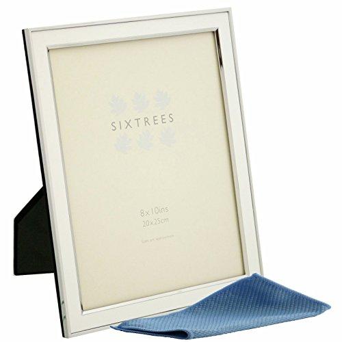 Sixtrees Abbey argento placcato cornice portafoto in 7misure e colori., metallo, White, 25,4 x 20,3 cm