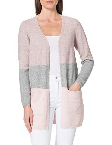 Vero Moda VMDINA LS Open Block Cardigan GA Color Suéter, Woodrosedetail:w. MGM and Sepia Rose, L para Mujer