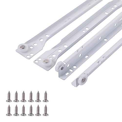 AmazonBasics - Europäische Schubladenschienen, zur Befestigung an der Unterseite, 25 cm, Weiße Pulverbeschichtung, 2er-Pack