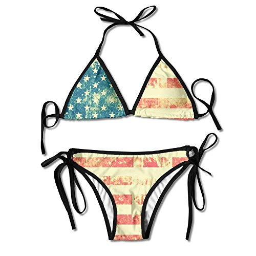 Uosliks Retro USA Flag of America Womens Bikini Set Outdoor Swimwear Adjustable Swimsuit 2 Piece