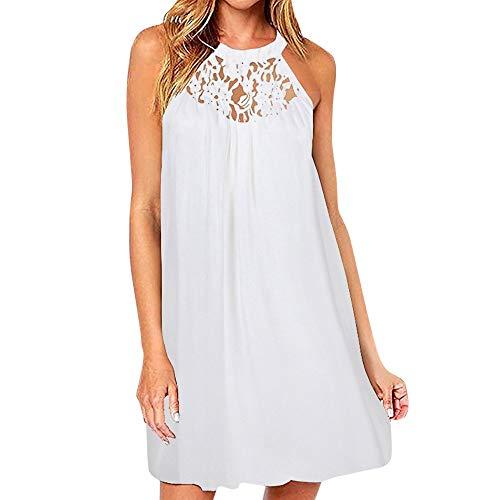Lulupi Damen Neckholder Kleid Kurz, Minikleid Abendkleid Kurzes Ärmelloses Spitze Panel Chiffon-Kleid Casual Sommer