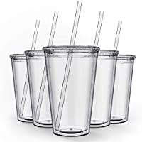 12-Pack Maars Double Wall Clear Classic Insulated Tumblers, 16 oz