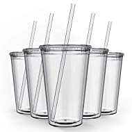 Maars Drinkware Bulk Double Wall Insulated Acrylic Tumblers with Straw and Lid (Set of 12), 16 oz, Clear
