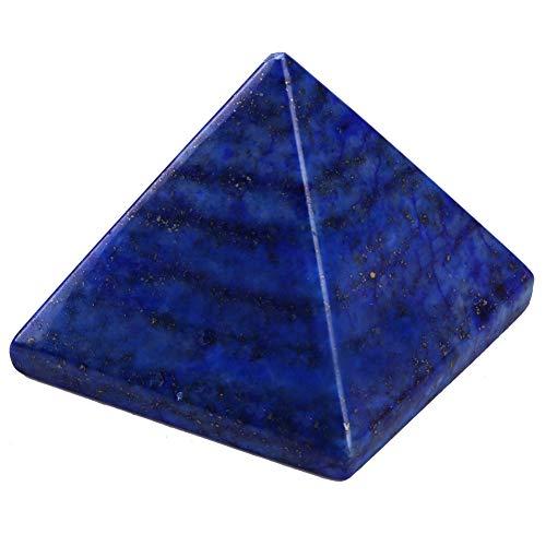 HEEPDD Kristal piramide, kristalheldere piramide natuurlijke wonderen, mooie lapis lazuli, steen gesneden, kristal, healing, piramide, beeldje, 35 x 35 x 30 mm