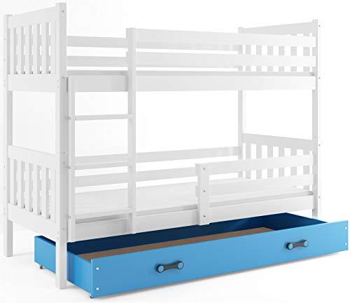 Interbeds Etagenbett CARINO 190x90cm Farbe: WEIß, aus Kiefernholz; mit Lattenoroste und Matratzen (weiß + Blaue Schublade)