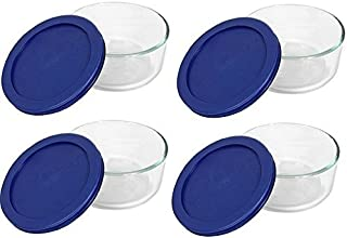 Pyrex Storage 2 Cup Round Dish, Clear with Blue Lid, Pack of 4 Containers