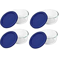 Pyrex Blue Storage 2 Cup Round Dish, Clear Lid, Pack of 4 Containers