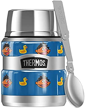 Sesame Street Ernie and Rubber Ducky Pattern THERMOS STAINLESS KING Stainless Steel Food Jar with Folding Spoon Vacuum insulated & Double Wall 16oz