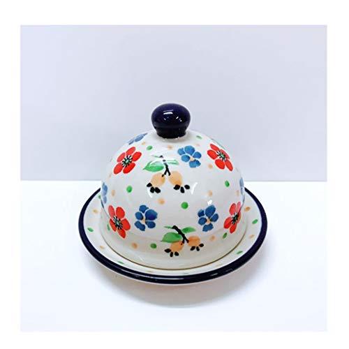 Plato de mantequilla Plato de mantequilla de cerámica con flores lindas pintadas a mano, plato de la mantequilla de los hogares con tapa, multiusos Butter Box, de 3,5 pulgadas platos de mantequilla co