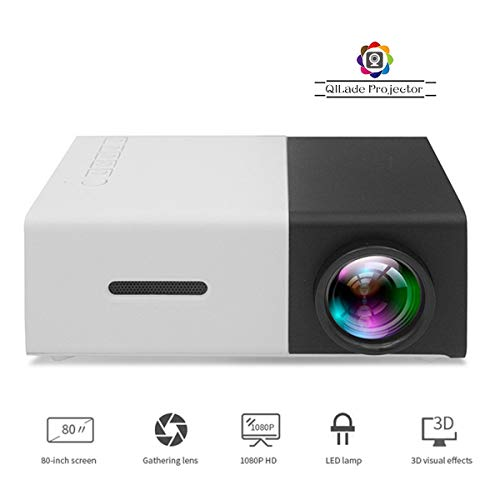 Mini Projector/Portable LED Projector Support PC Laptop/USB/SD/AV/HDMI Input for Video/Movie/Game/Home Theater Video Projector, Best Gift for Kid,Black