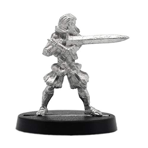 Stonehaven Miniatures Female Human Zweihander Miniature Figure, 100% Pewter Metal - 24mm Tall - (for 28mm Scale Table Top War Games) - Made in USA