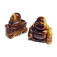 【SION】天然石 七福神 布袋 彫刻 置物 タイガーアイ