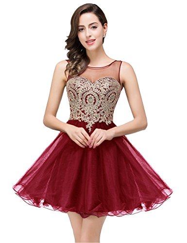 2017 Spring Beaded Applique Short Prom Dresses For Juniors,362 burgundy,6