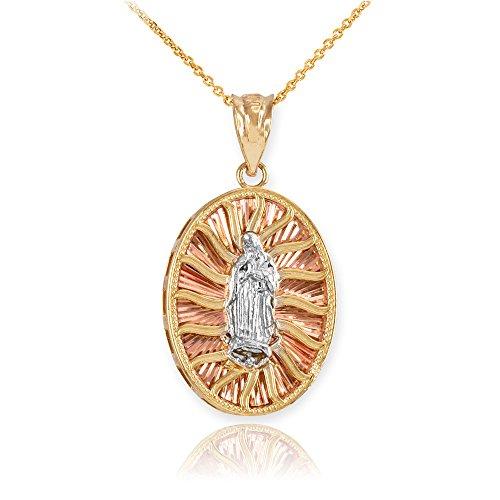 14ct oro Amarillo Virgen María Guadalupe en tres tonos colgante collar (viene con un 45cm cadena)