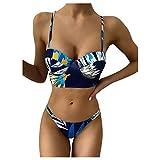Mujer Ropa de Dos Piezas de Baño Establece Empuja hacia Arriba BañAdores Tops y Talle Alto Triangulo Tanga Bañadores Dividida Traje de Baño Bikini Conjuntos