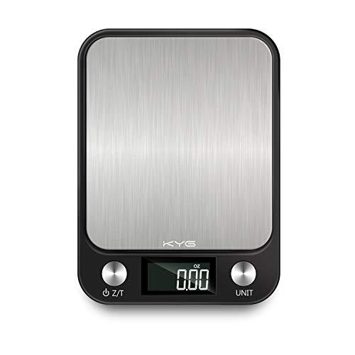 KYG Bilancia Digitale da Cucina con Display LCD, Funzione Tare 10kg / 1gr Professionale Alta Precision Bilancia Elettronica, Acciaio Inox, Pile Incluse