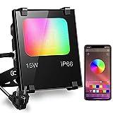 iLC Foco LED RGB de Colores 15W Inteligente Controlado por la Aplicación de Teléfono Foco Proyector Exteriores - IP66 Impermeable - Multicolor16 millones 20 Modos - sincronización de música