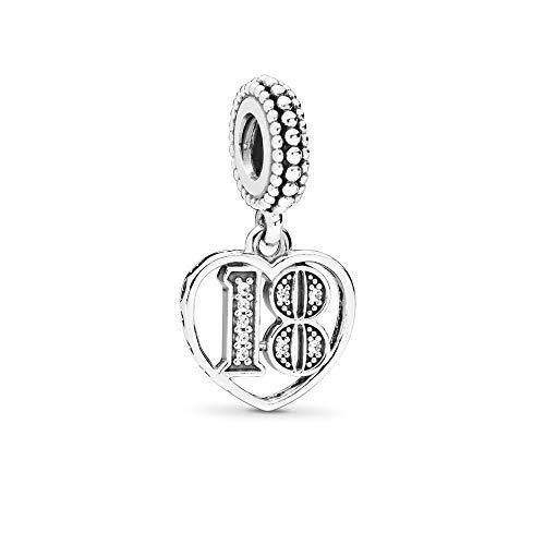 FGT 18th Celebration Dangle Charm for Pandora Bracelets 18th Birthday Heart Pendant Anniversary Sterling Silver Charm for Bracelets