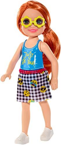 Mattel Barbie Chelsea-Muñeca Pelirroja con Falda de Emojis
