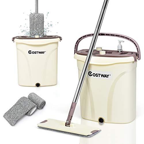 COSTWAY Set Secchio e Mocio Strizzatura Automatica, Sistema per Separare Acqua Sporca e Pulita, con 2 Stracci in Microfibra