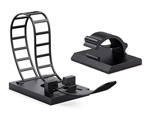 AGPTEK Kabelhalter 50 Stück Set, selbstklebend Kabelbefestigung mit Klebstoff Unterlage, 25 Kabelhalter + 25 Kabel Clips, kabelbinder für Haus Büro Tisch Auto, Schwarz