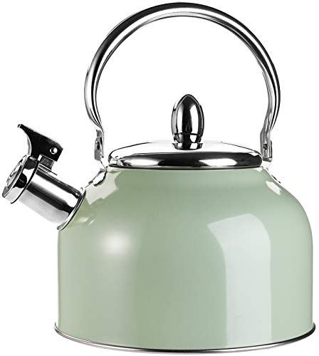TOPZEA Tea Kettle with Handle, 3.2 Quart Stainless Steel Whistling Teapot Stove Top Tea Kettle for Heating Water, Fast Boiling Water Teakettle, Green, 3L