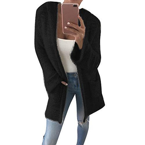 Damen Strickjacke Lang Cardigan Casual Strickmantel Frauen Winterjacke Mantel Jacke Trenchcoat Outerwear Mit Kapuze Hoodies Jacke Mit Weste Kapuzenpullover von Innerternet
