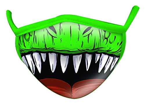 Wild Republic Wild Smiles Adult Face Mask, Reusable Face Mask, Washable Face Mask, Half Face Mask, Dinosaur Design