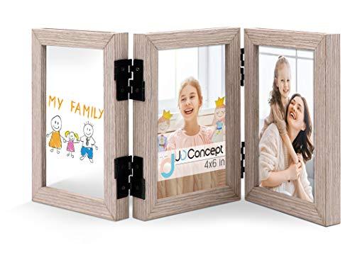 JD Concept Triple 10 x 15 cm Scharnier Holz-Bilderrahmen, Vorder- und Rückseite Fotodisplay auf dem Desktop, Zweiwege-Faltung (Mit Gls)
