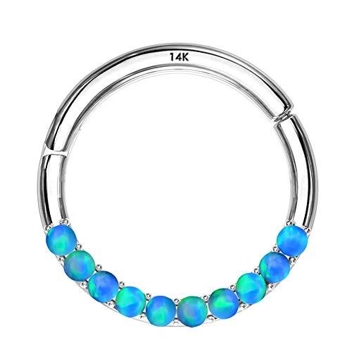 OUFER 14K Gold Hinged Segment Hoop Rings Opal Lined Set Septum Clicker Nose Rings Daith Trgaus Helix Earring Body Piercing Blue White Gold