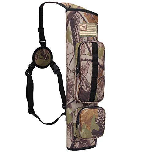Kratarc Back Arrow Quiver Field Quiver Archery Shoulder Hanged Carry Hunting Target Arrow Quiver Bag with 2 Pockets (Camouflage)