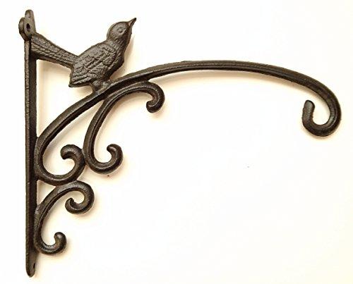 Spring life Large Cast Iron Ornate Bird Hanging Flower Basket Bracket Hook in 3 colours(31 cm) (Black)