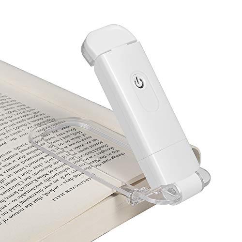 DEWENWILS Lámpara de lectura con pinza para libro, lámpara LED con pinza recargable por USB, 2 niveles de brillo ajustables, luz de lectura para niños y lombrices, luz de día