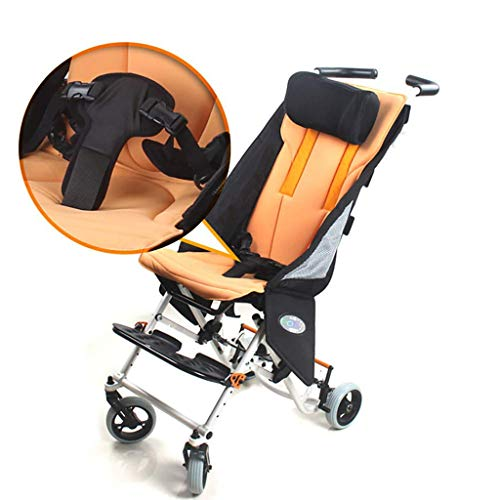 HSRG Kind Reise Rollstuhl, Aluminiumlegierung Falten Licht Kind Trolley Scooter Behinderte Kinder manuellen Rollstuhl