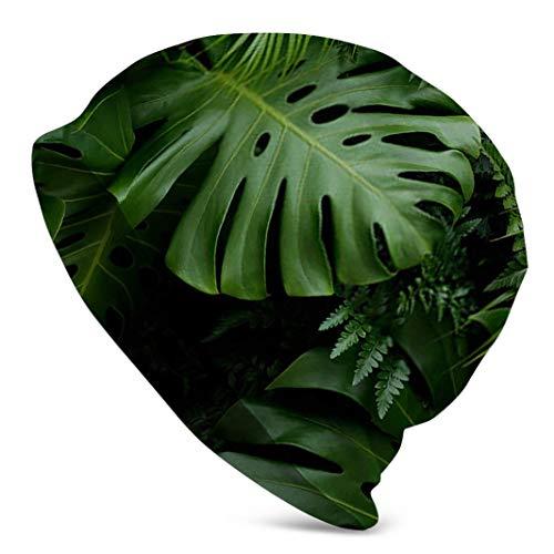 Voxpkrs Verde Tropical Hojas Monstera Palm Fern Y Gorra De Reloj Ornamental Gorro De Gorro De Calavera Hombres Invierno