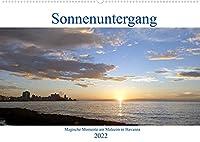 Sonnenuntergang - Magische Momente am Malecón in Havanna (Wandkalender 2022 DIN A2 quer): Sonnenuntergang in der Bucht von Havanna (Monatskalender, 14 Seiten )